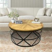 Industrial Reclaimed Wood Round Coffee Table-DMT-085 - The ...