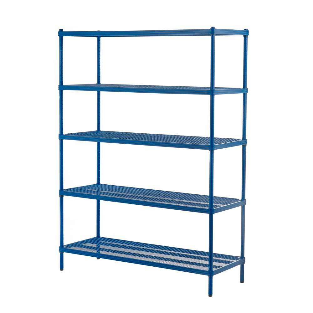 Shelf Design Ideas Design Ideas Meshworks 5 Shelf Metal Petrol Blue Freestanding Shelving Unit