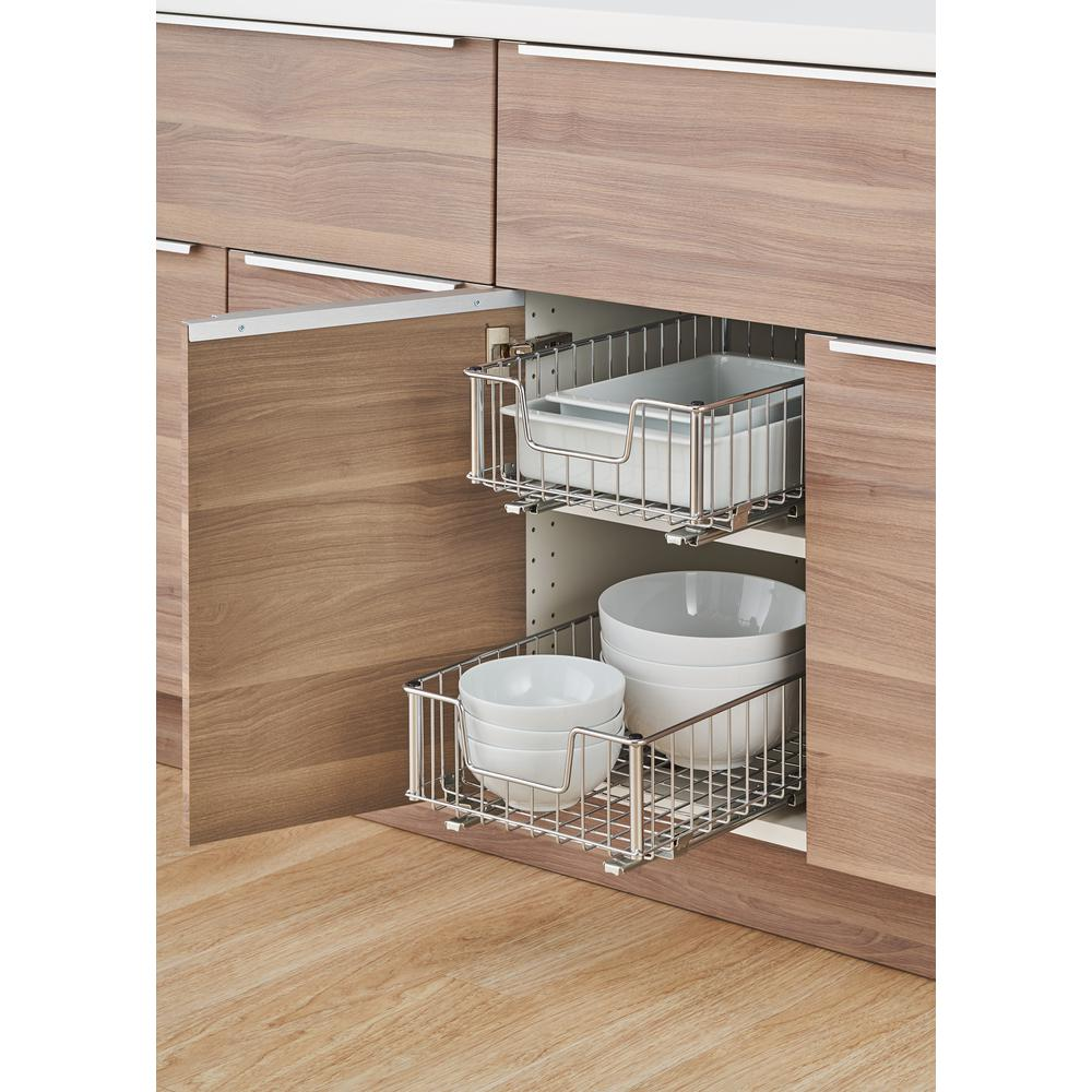 Cupboard Drawers Trinity Ecostorage 11 5 In W X 17 75 In D X 6 25 In H Chrome Wire In Cabinet Pull Out Bottom Mount Wire Drawer