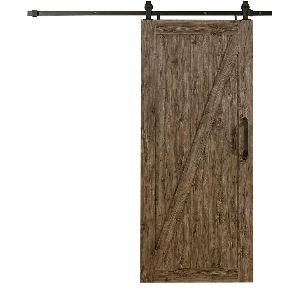Vinyle Pvc Pinecroft 36 In X 84 In Millbrooke Weathered Grey Z Style Ready To Assemble Pvc Vinyl Sliding Barn Door With Hardware Kit