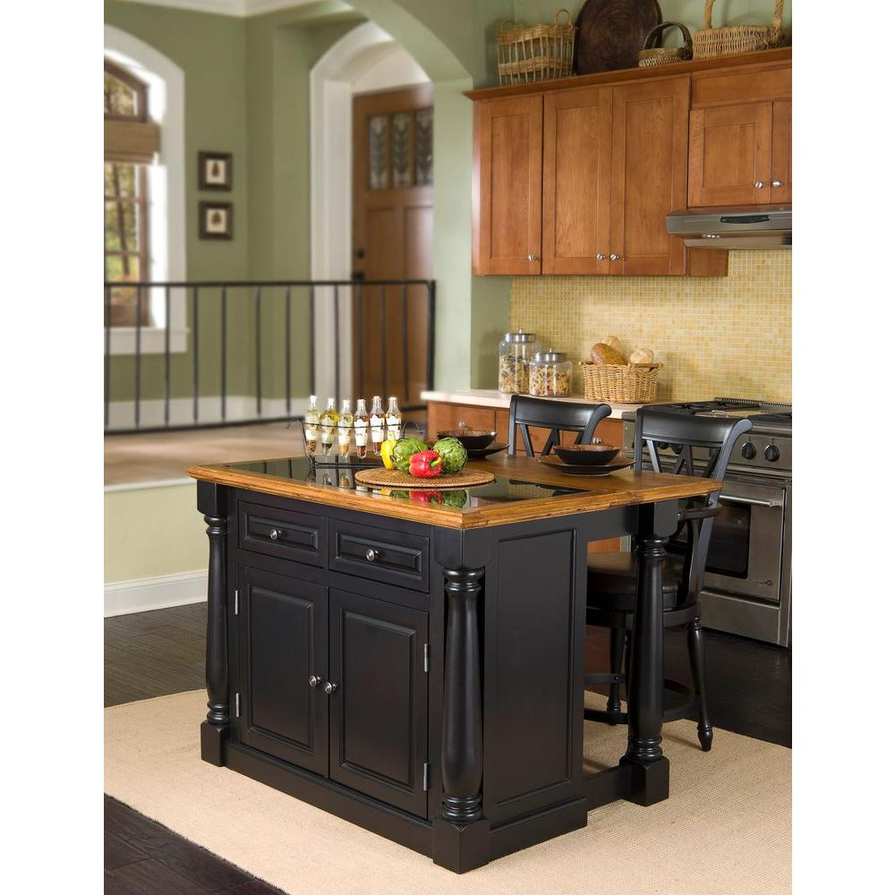 Black Island Kitchen Home Styles Monarch Black Kitchen Island With Seating 5009 948