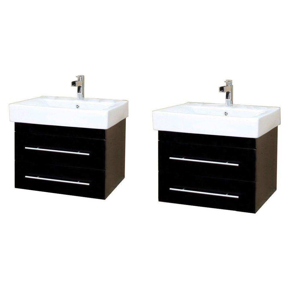 Wall Mount Double Vanity Bellaterra Home Lyon D 49 In W Double Vanity In Black With Porcelain Vanity Top In White