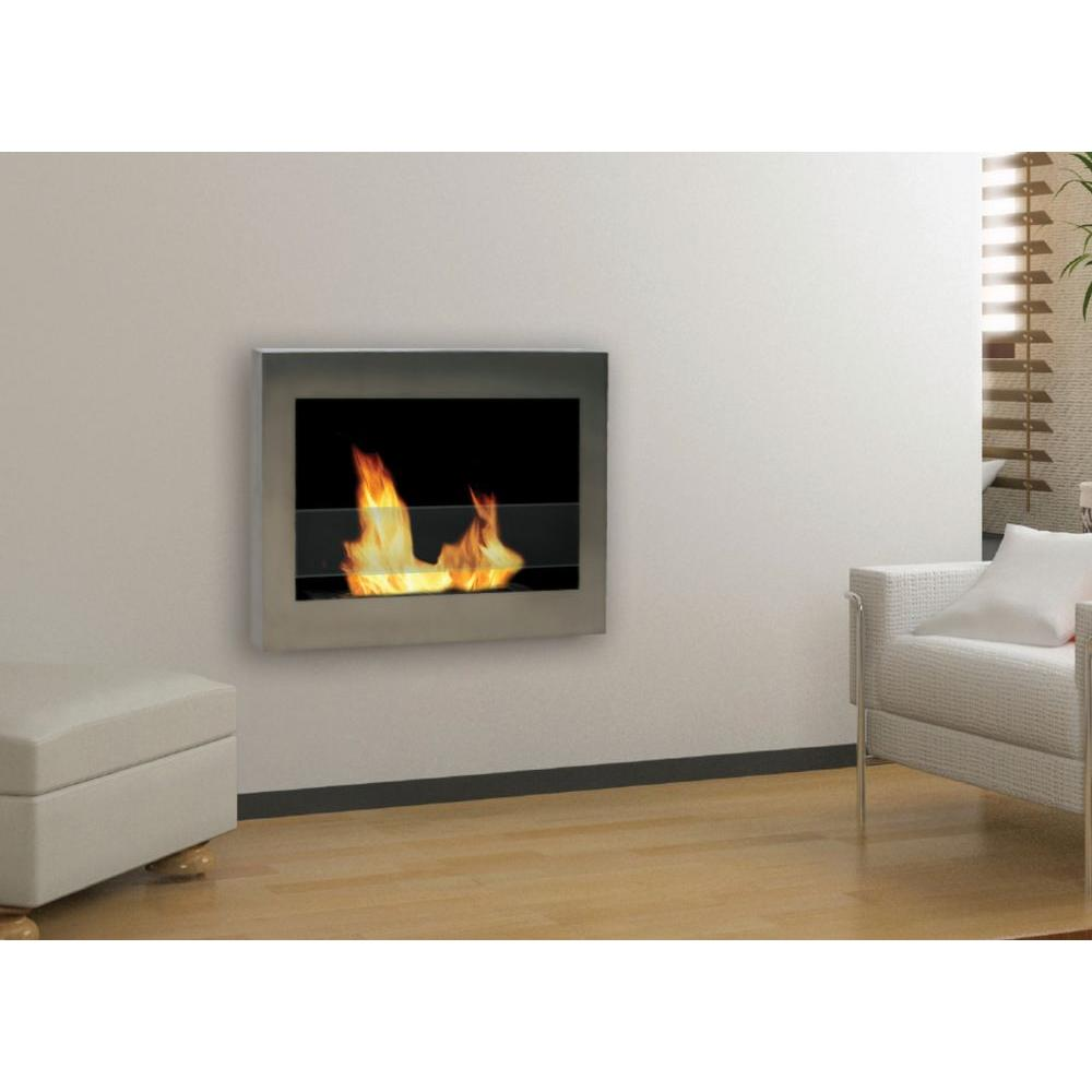 Wall Mount Fireplaces Anywhere Fireplace Soho 28 In Wall Mount Vent Free Ethanol Fireplace In Stainless Steel