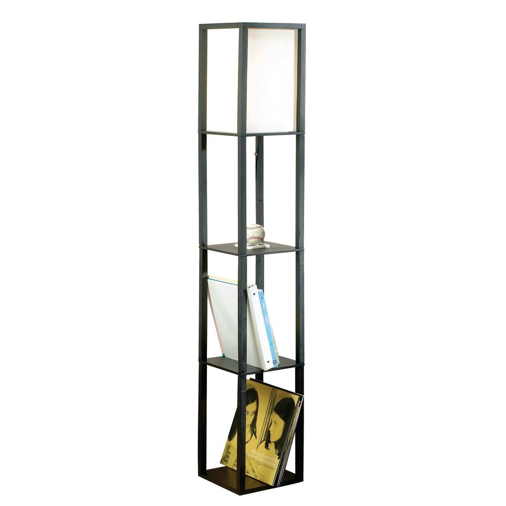 Etagere Otto 62 8 In Black Square Etagere Floor Lamp With Ivory Fabric Shade