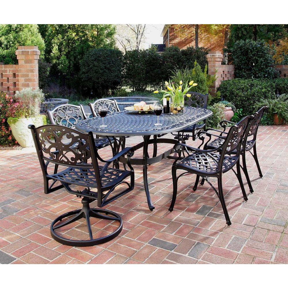 Outdoor Furniture Dining Set Sale Home Styles Biscayne Black 7 Piece Patio Dining Set 4 Stationary 2 Motion