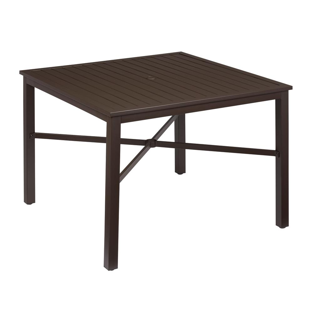 Metal Table Hampton Bay Mix And Match Square Metal Outdoor Dining Table