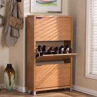 Baxton Studio Simms Wood Modern Shoe Cabinet in Maple ...