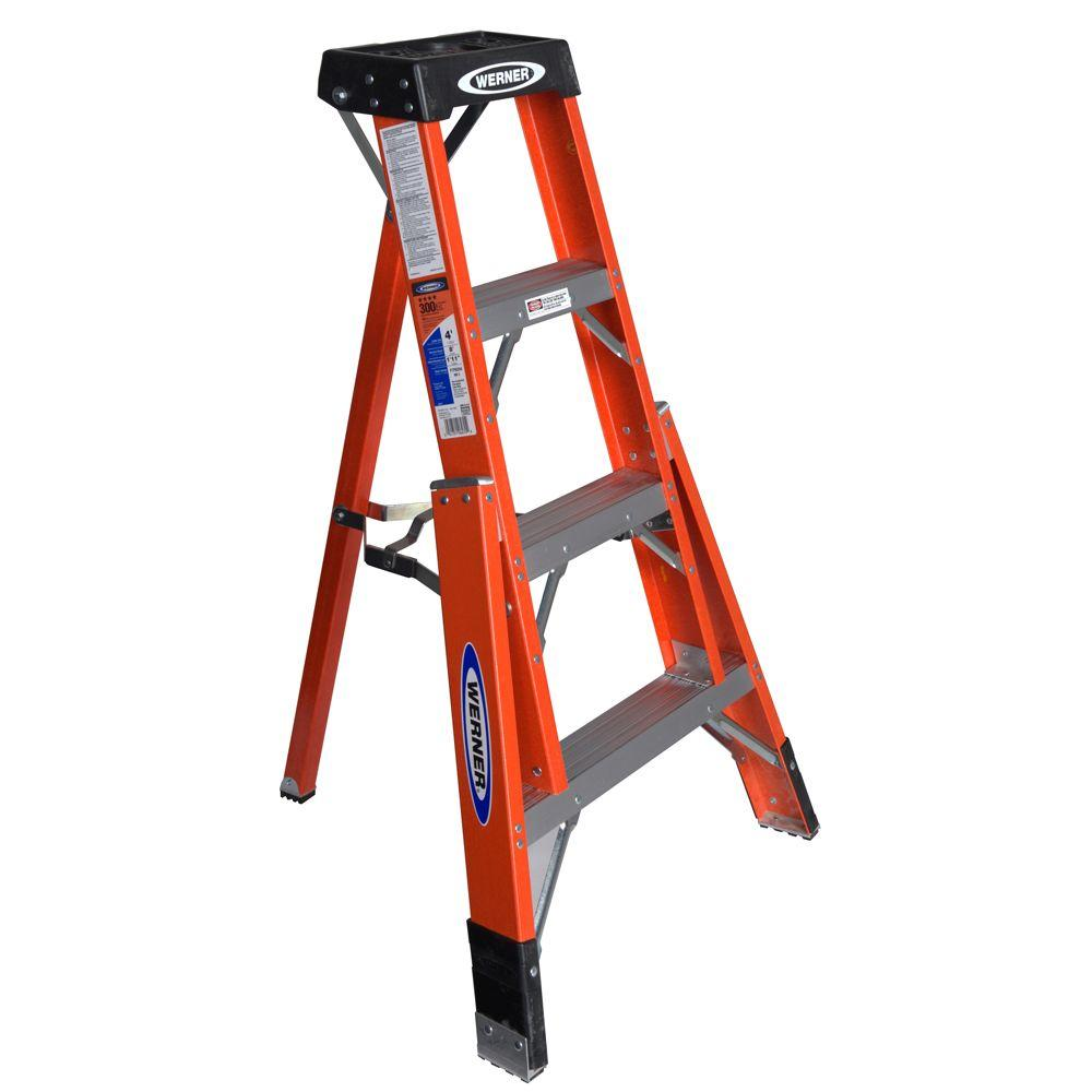 Werner 4 Ft Fiberglass Tripod Step Ladder With 300 Lb