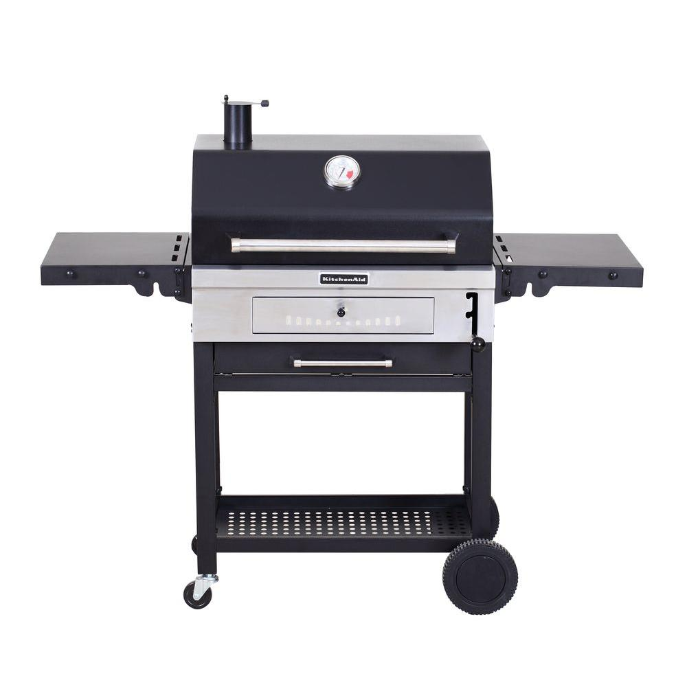 Charcoal Bbq Kitchenaid Cart Style Charcoal Grill In Black With Foldable Side Shelves
