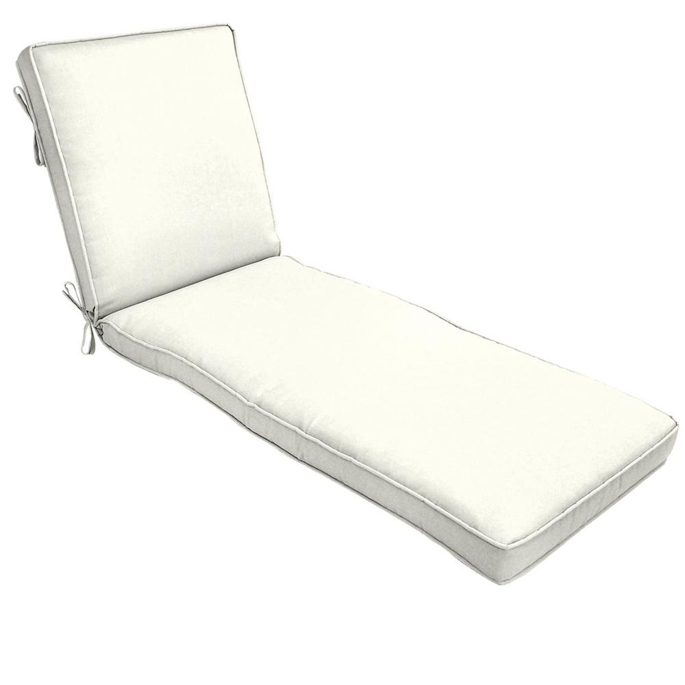 White Sun Lounge Home Decorators Collection 22 X 74 Sunbrella Canvas White Outdoor Chaise Lounge Cushion