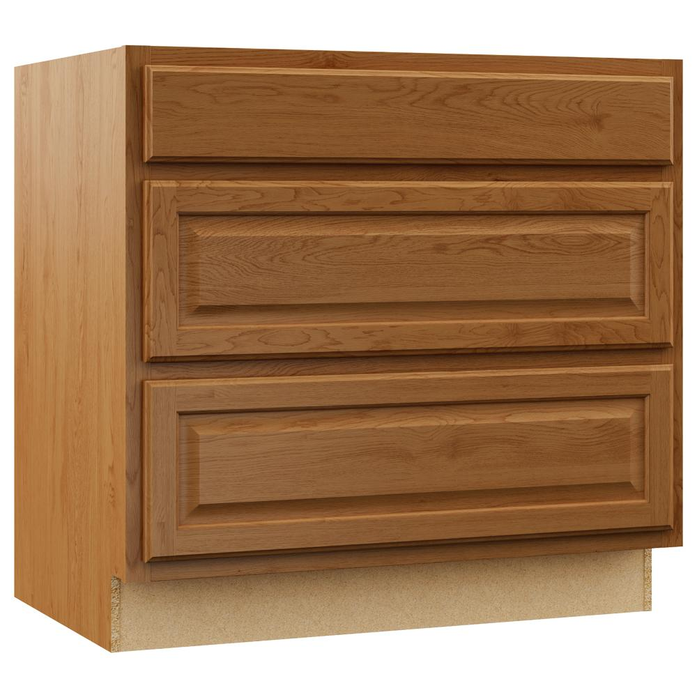 Kitchen Cabinet Drawers Hampton Bay Hampton Assembled 36x34 5x24 In Pots And Pans Drawer Base Kitchen Cabinet In Medium Oak