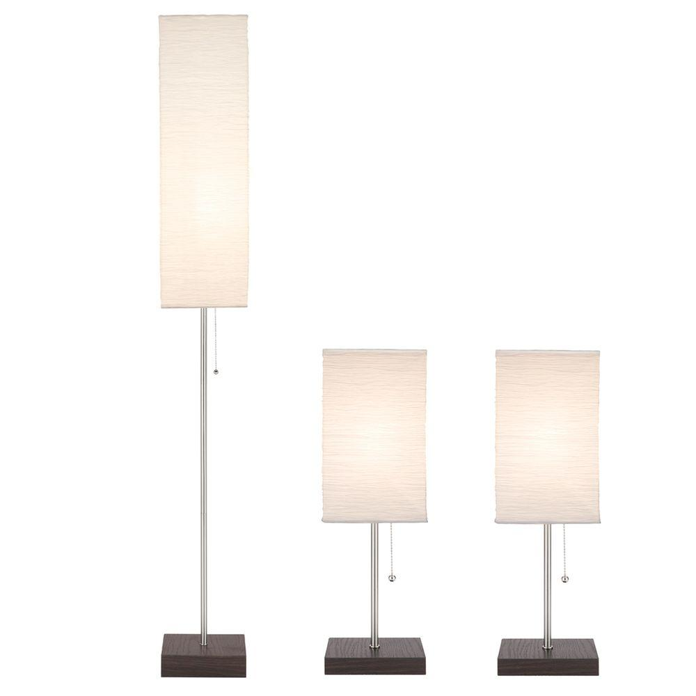 Floor Table Lamps Hampton Bay 60 In Floor And 19 In Table Lamps With Paper Shade Combo Set 3 Pack