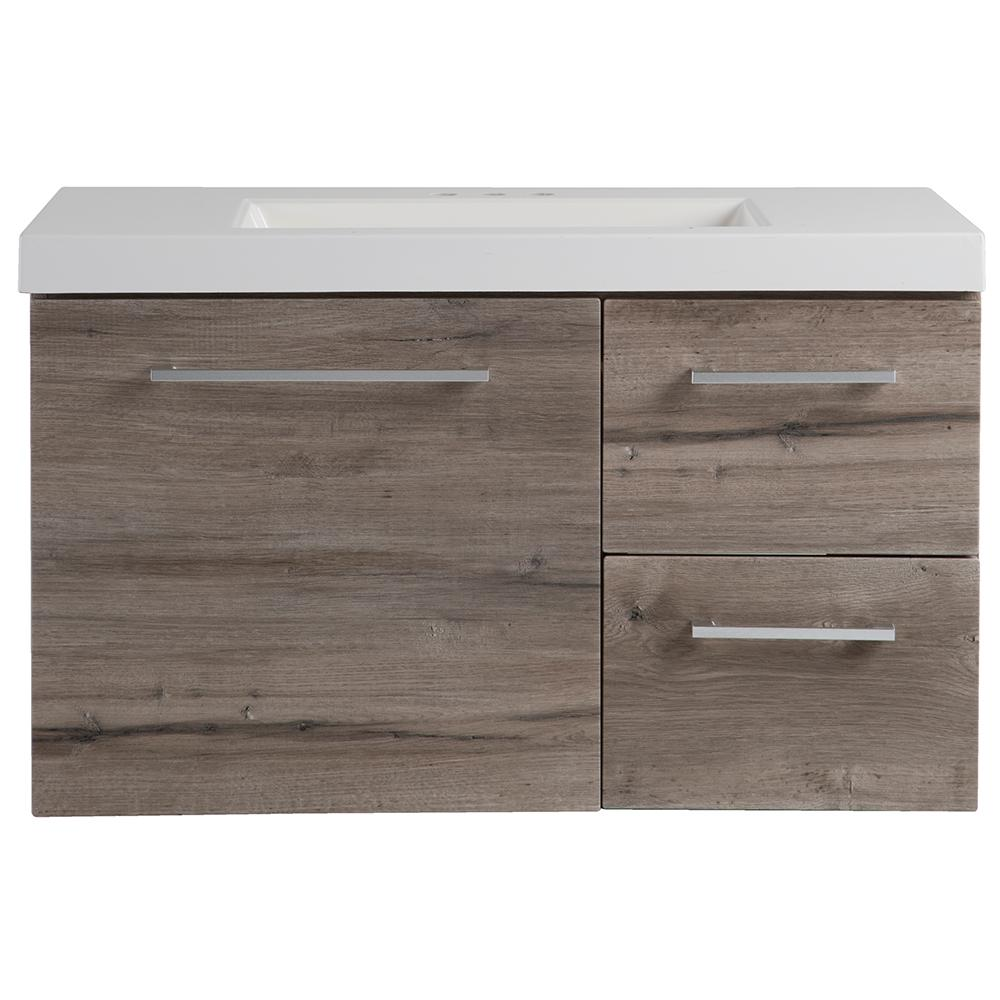 12 Deep Bathroom Vanity Domani 37 In W X 19 In D Wall Hung Bathroom Vanity In Washed Oak With Cultured Marble Vanity Top In White With White Sink