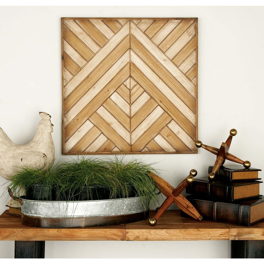 Wall Decor Wooden 24 In X 24 In Rustic Wooden Chevron And Herringbone Pattern Wall Decor