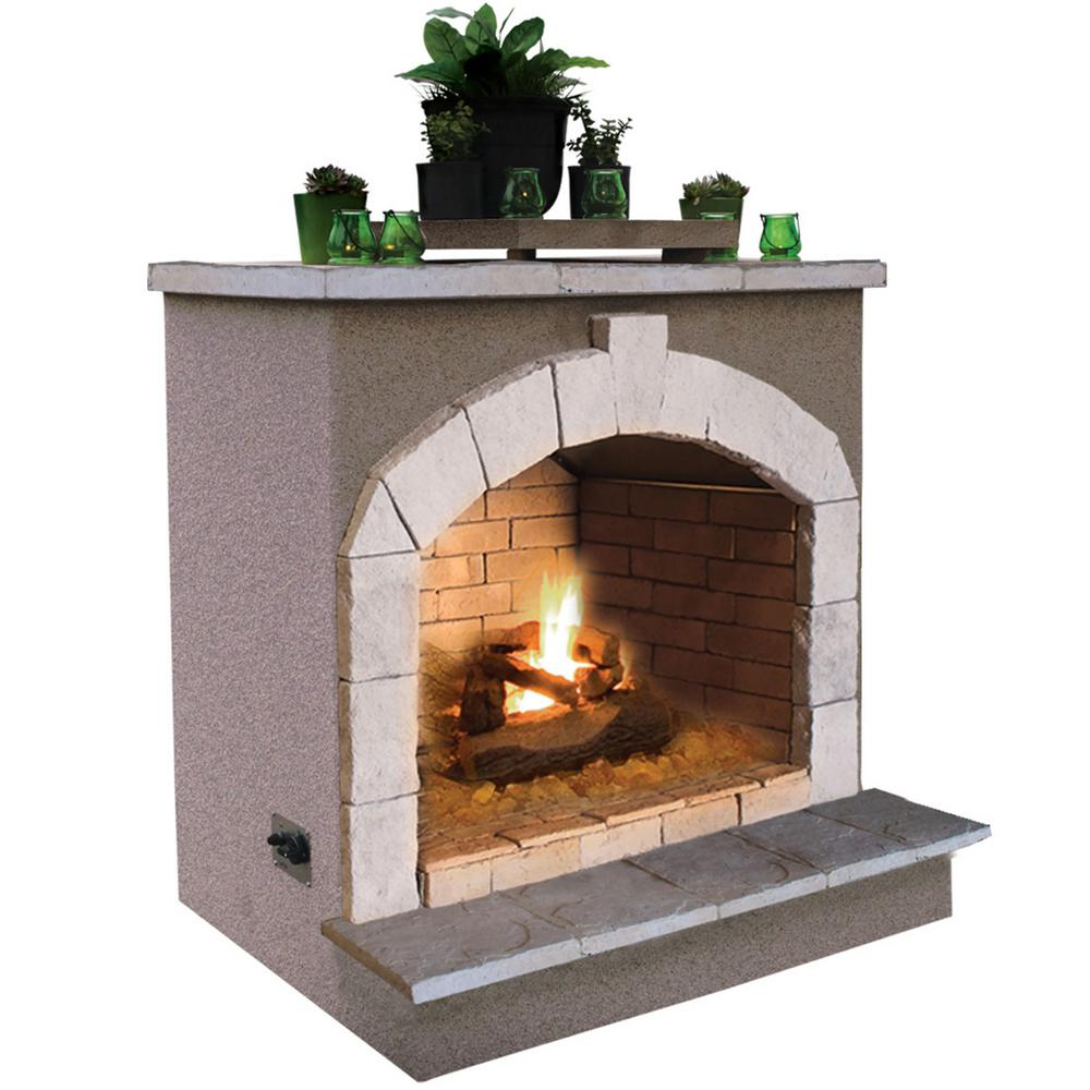 Outdoor Gas Fireplaces Cal Flame 48 In Propane Gas Outdoor Fireplace