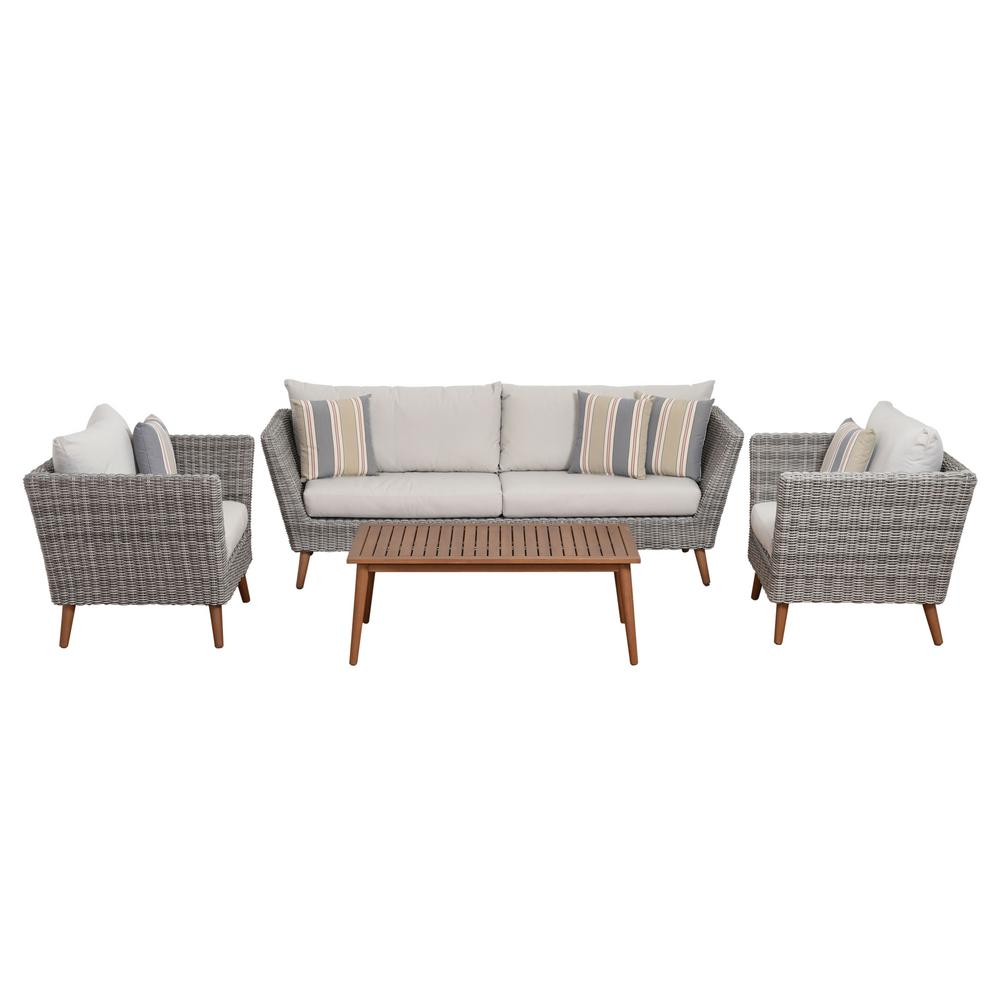 Baptist 6 Piece Rattan Sofa Set With Cushions Amazonia Belize 4 Piece Synthetic Wicker Patio Conversation Set With Light Grey Cushions