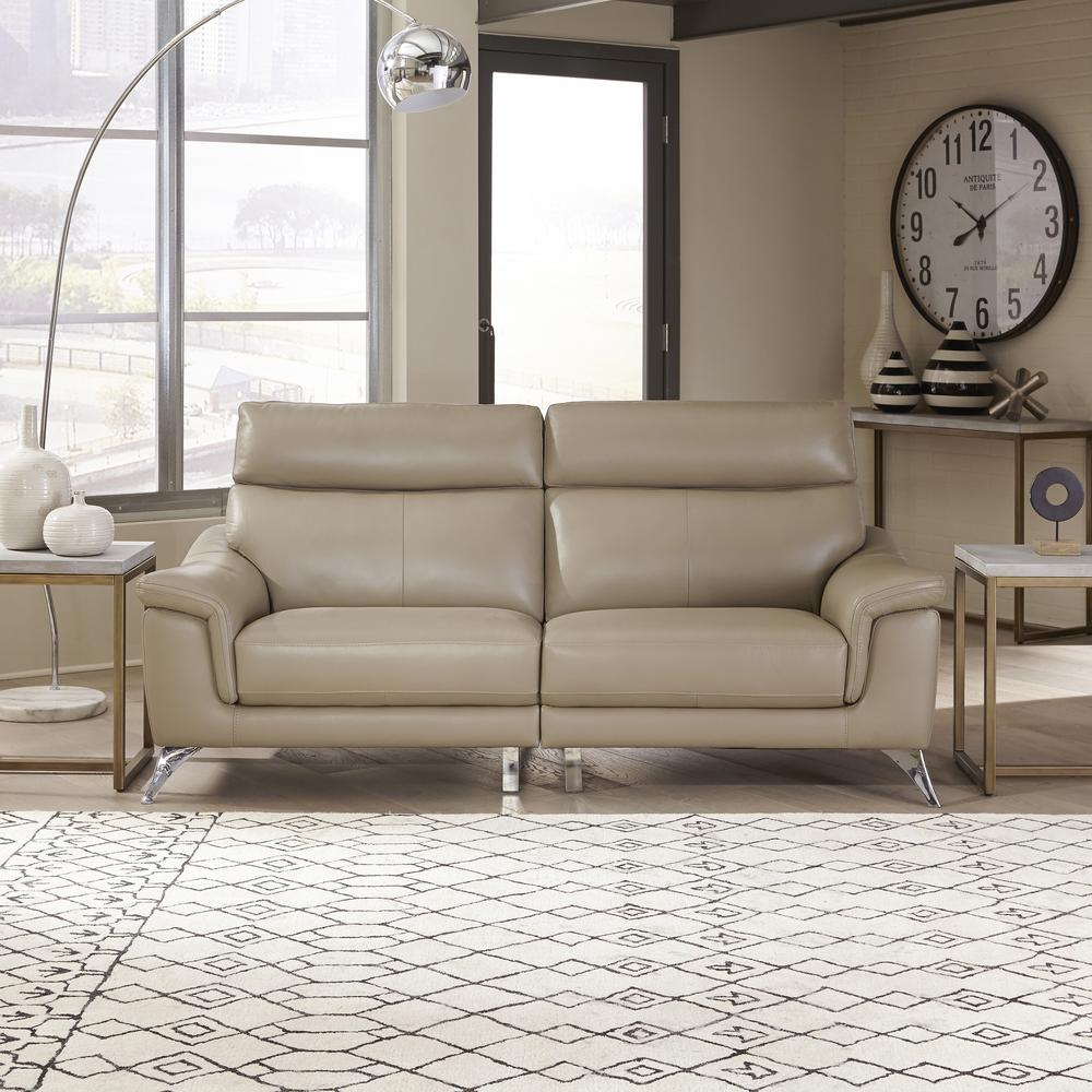 Sofa 60er Homestyles Moderno Beige Leather Contemporary Upholstered Sofa
