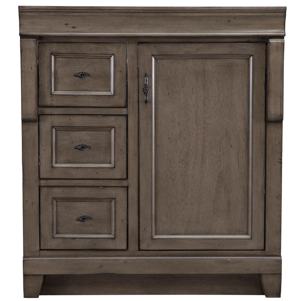 30 Vanity With Drawers Home Decorators Collection Naples 30 In W Bath Vanity Cabinet Only In Distressed Grey With Left Hand Drawers