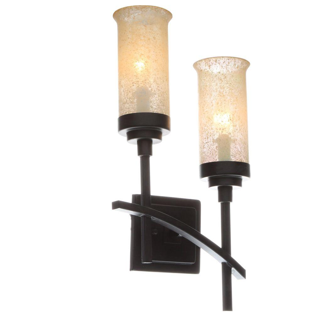 Lighting Wall Lights Hampton Bay 2 Light Iron Oxide Sconce With Scavo Glass Shades