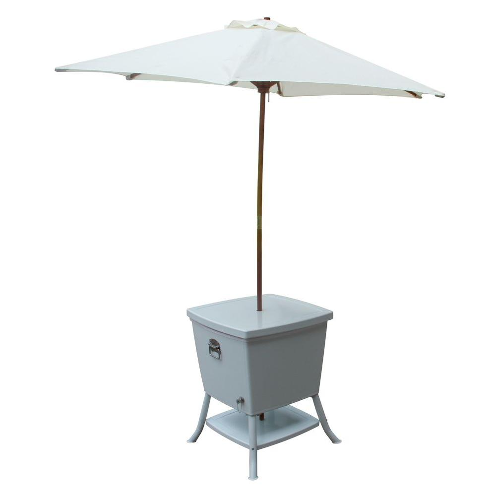 Leisure Season 24 In Square Steel Cooler Patio Table With