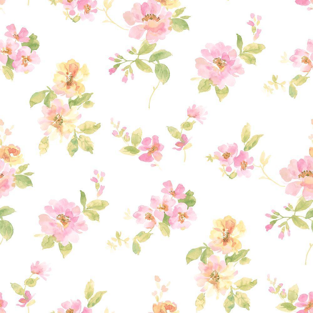 Falling Cherry Blossom Wallpaper Hd Chesapeake Captiva Pink Watercolor Floral Wallpaper Sample