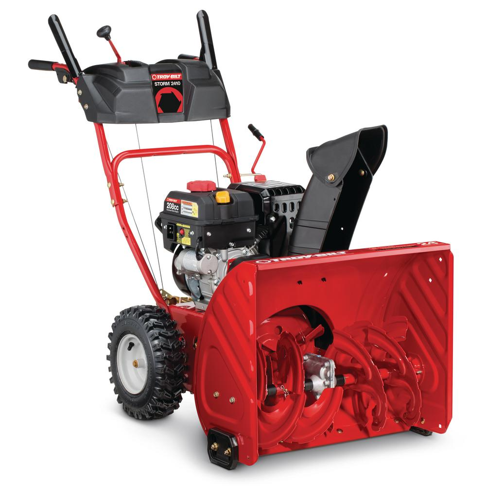 Used Snow Blowers Troy Bilt 24 In 208 Cc Two Stage Gas Snow Blower With Electric Start Self Propelled