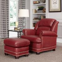 Home Styles Winston Red Faux Leather Arm Chair with ...