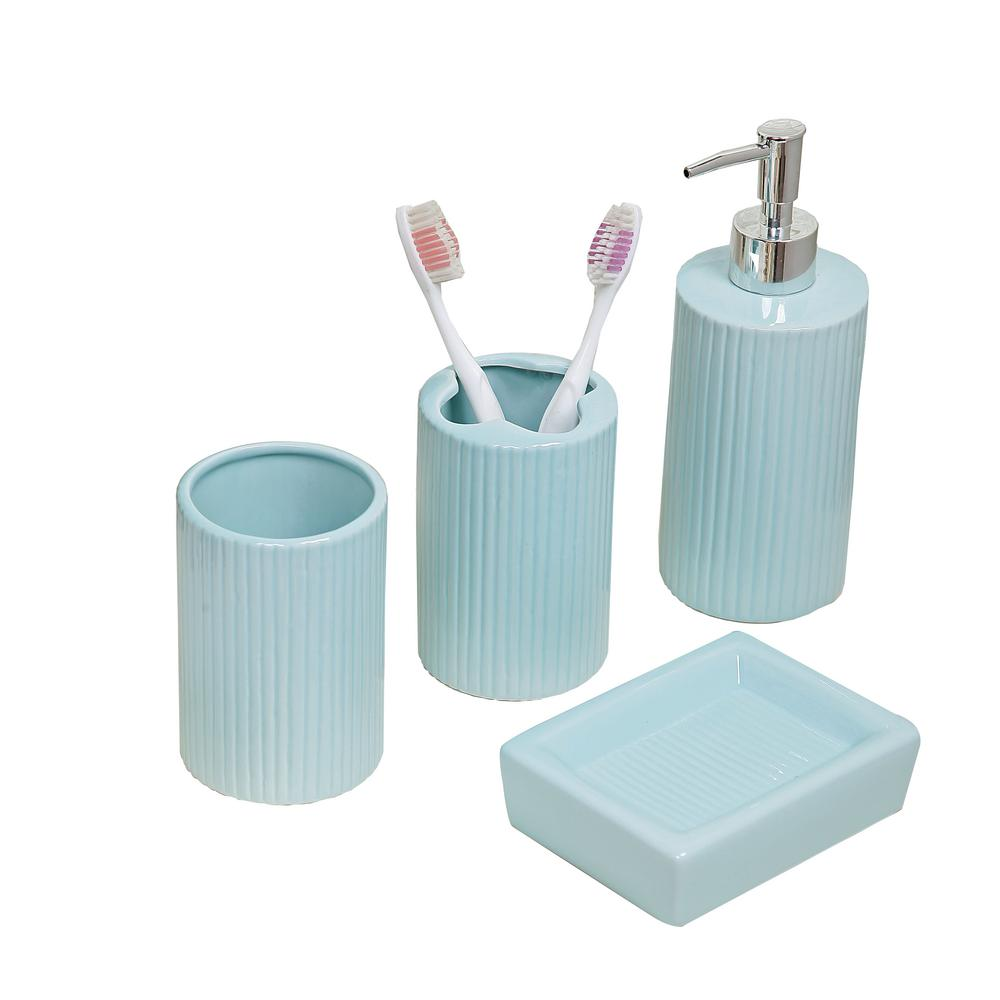 Bathroom Dispenser Set Indecor Home 4 Piece Bath Accessory Set In Aqua