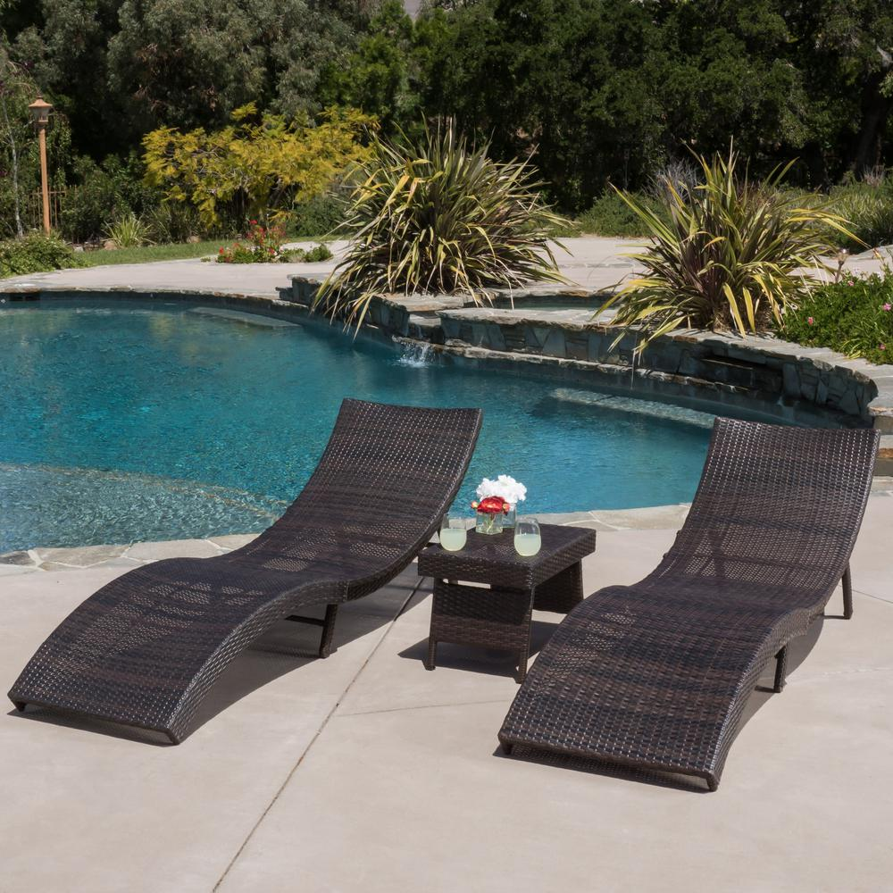 Chaise Longue Acapulco Noble House Acapulco Multi Brown 3 Piece Wicker Outdoor Chaise Lounge