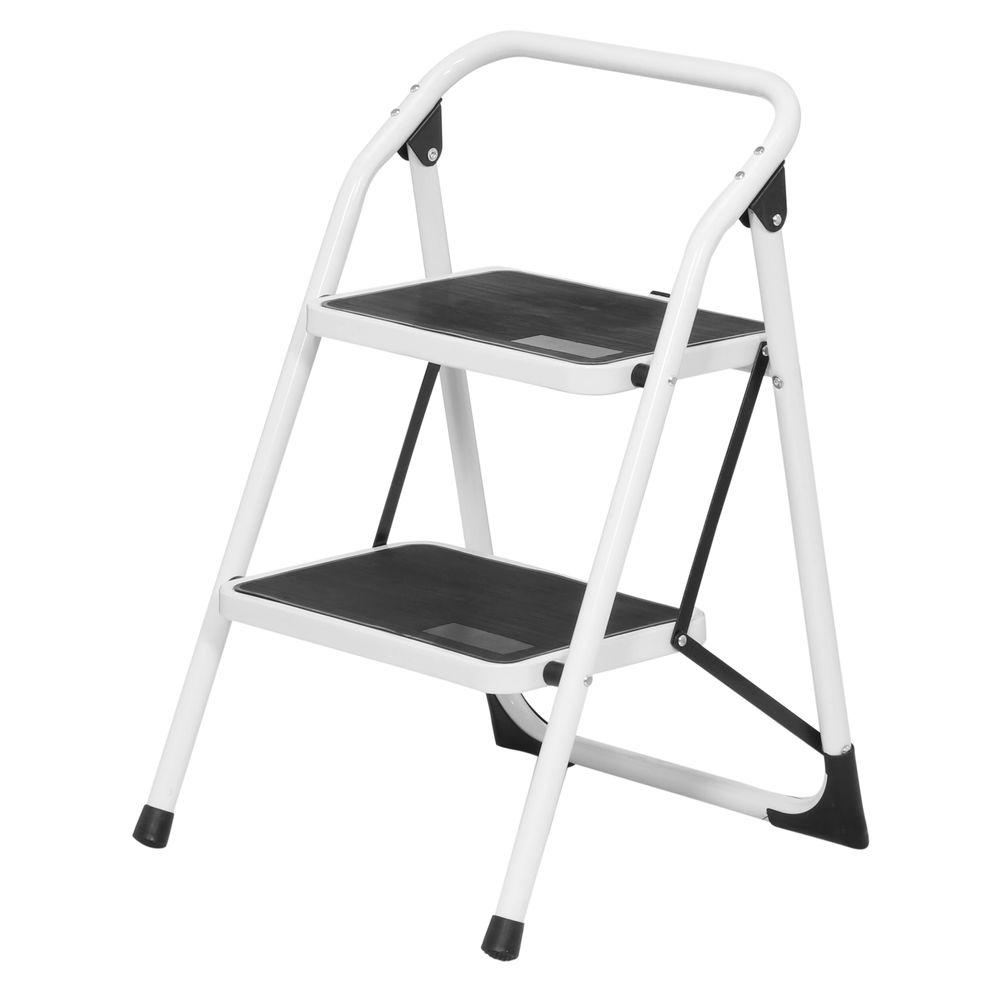 Metal Step Stool Buffalo Tools 2 Step Steel Utility Ladder With 300 Lb Load Capacity