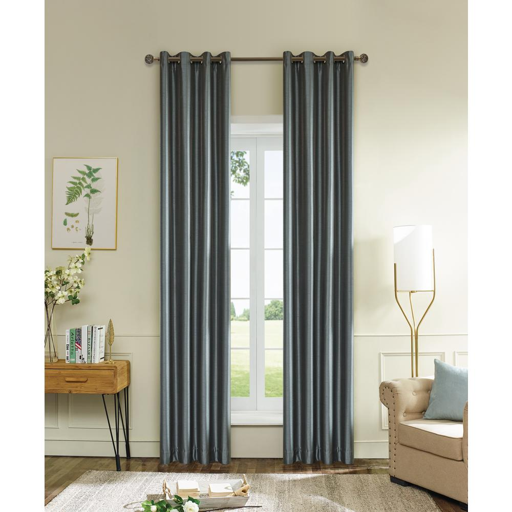 Grey Thermal Curtains Lyndale Decor Aberdeen 54 In L X 45 In W Max Blackout Thermal Coating Polyester Curtain In Silver Grey