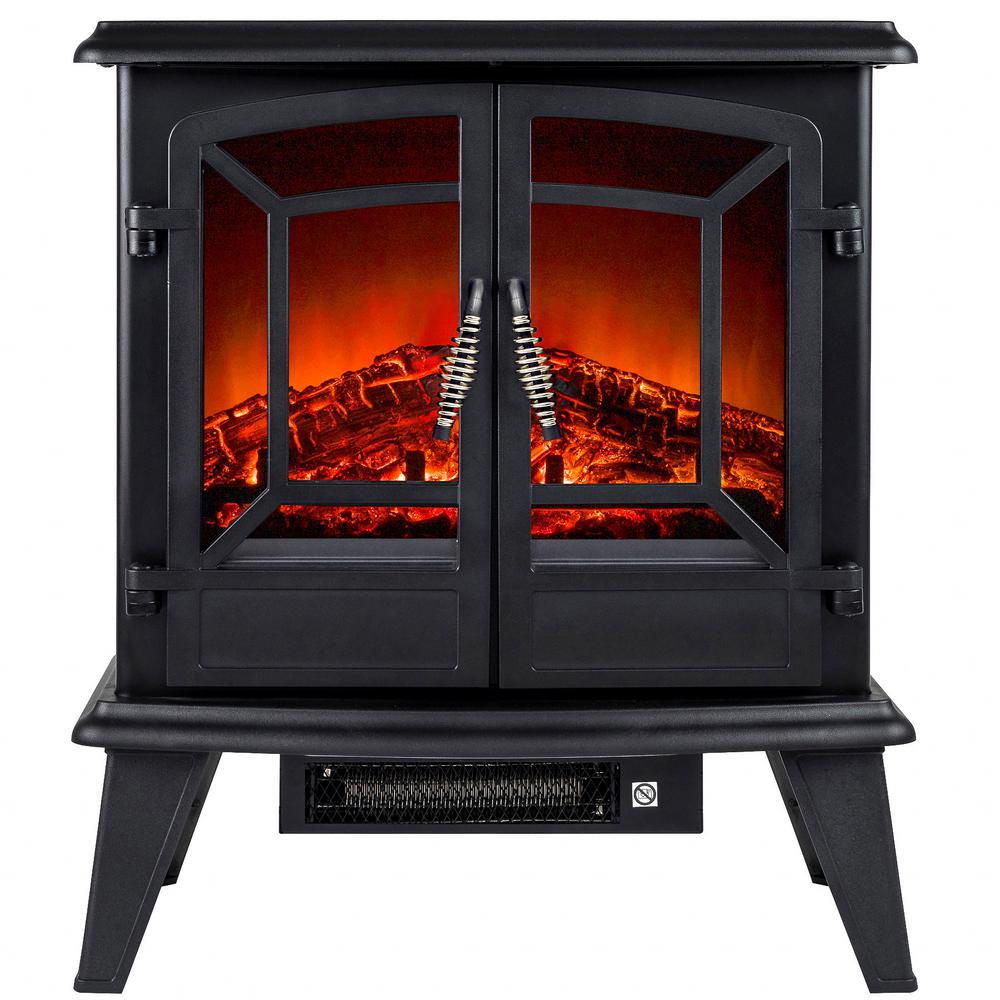 Akdy 400 Sqft Electric Stove In Black With Vintage Glass