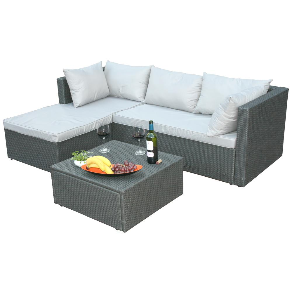Cheap L Shaped Rattan Sofa Outdoor Sectionals Outdoor Lounge Furniture The Home Depot