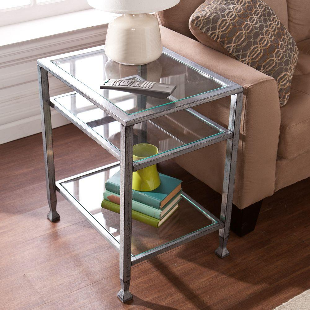 Metal Glass End Tables Southern Enterprises Silver And Black Glass Top End Table Hd864624