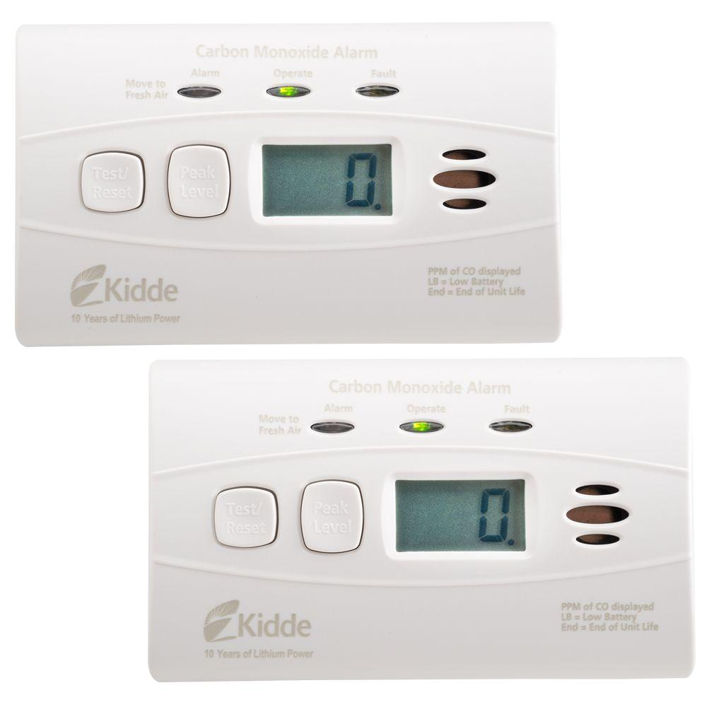 Battery Digital Kidde Worry Free 10 Year Lithium Battery Carbon Monoxide Detector With Digital Display 2 Pack