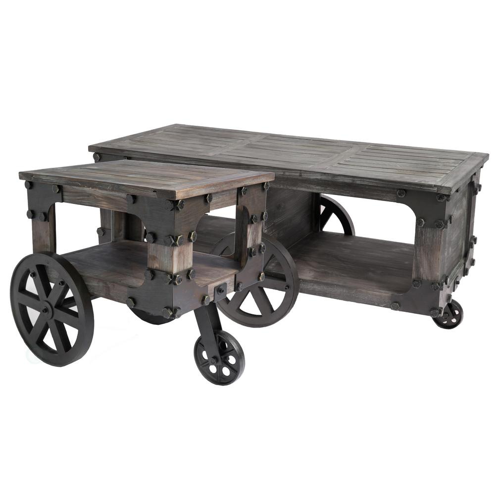 Coffee And End Tables With Storage Vintiquewise Rustic Industrial Wagon Style Coffee End Table With Storage Shelf And Wheels Set Of 2