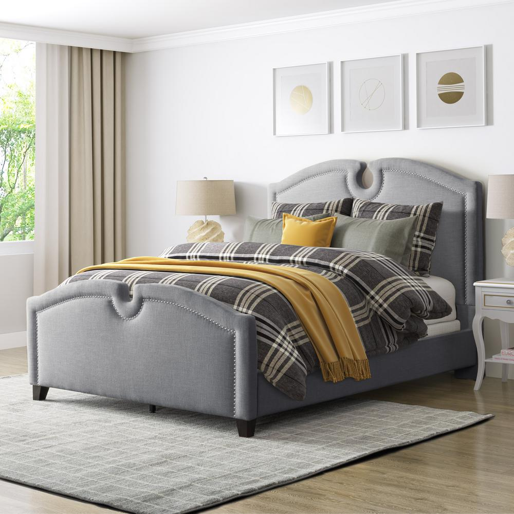 Full Double Bed Corliving Fairfield Grey Fabric Full Double Curved Top Bed Bbt 260