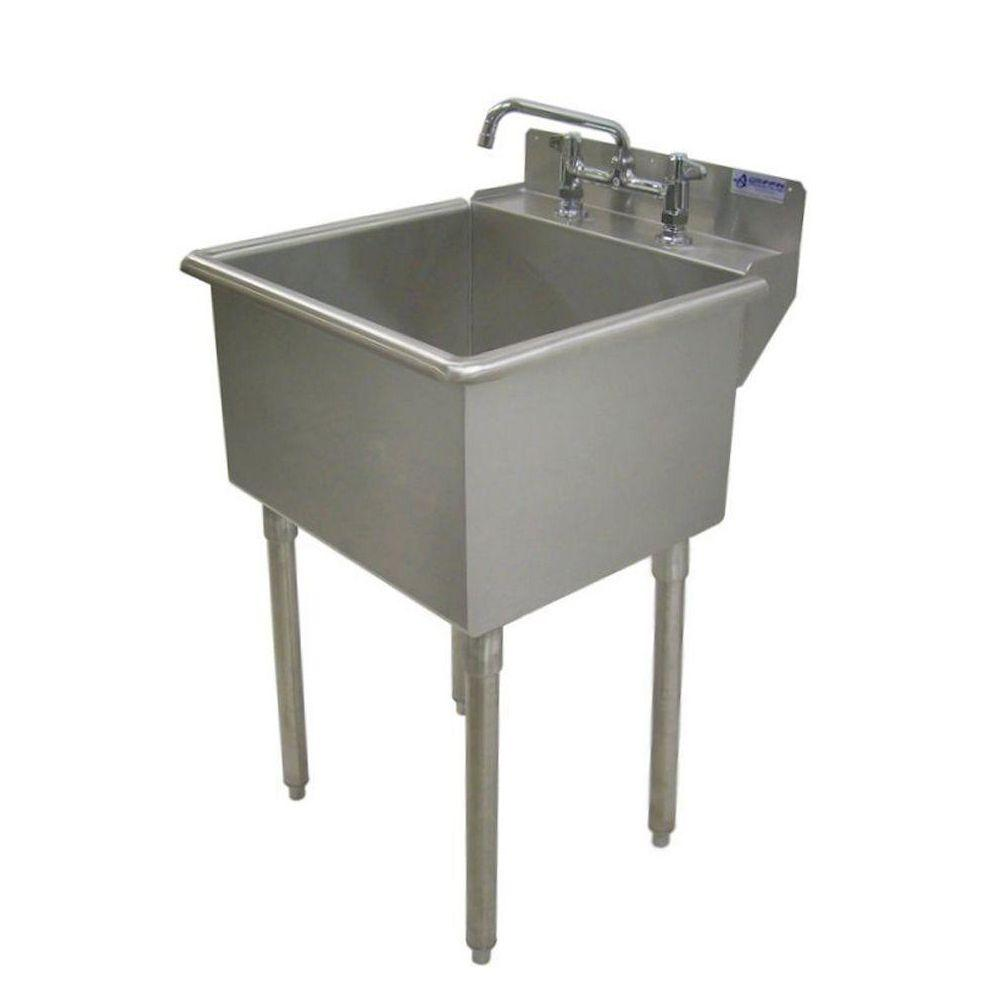 Garage Utility Sink Griffin Products Lt Series 24x24 Stainless Steel Freestanding 2 Hole Laundry Sink