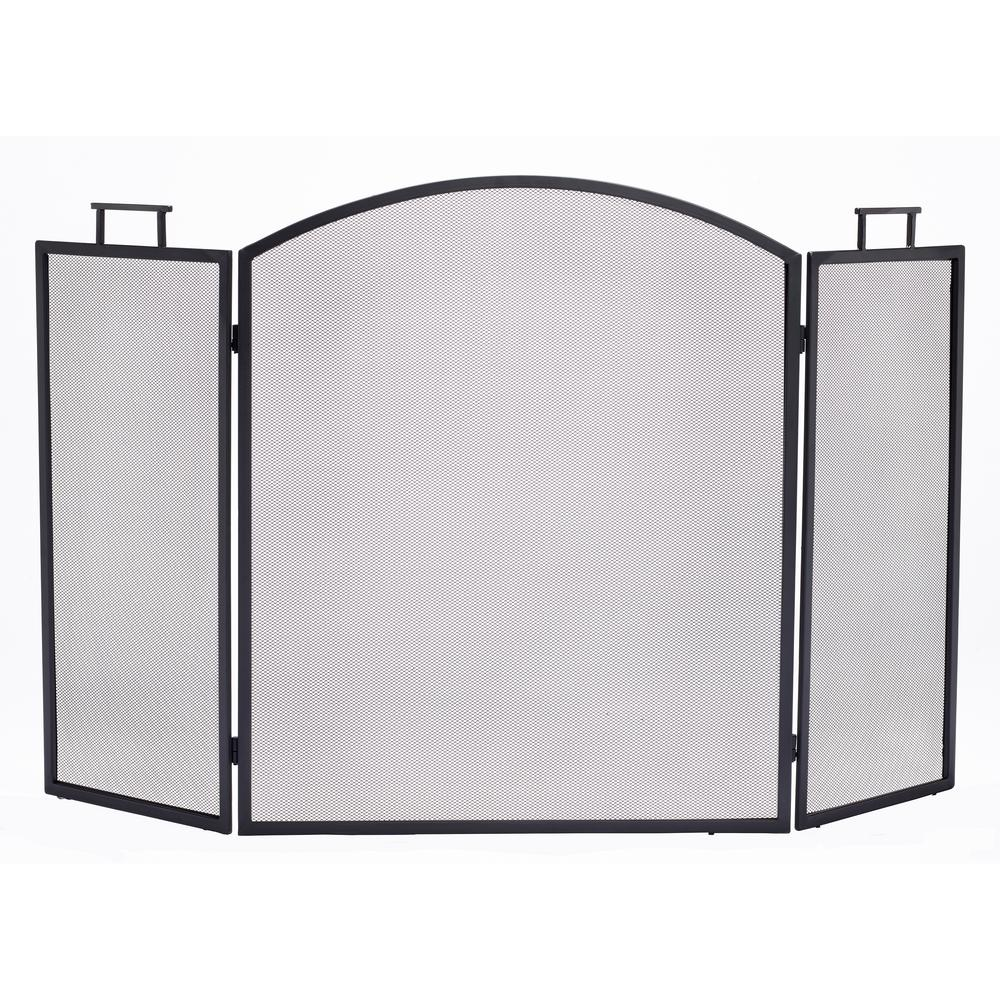 Fireplace Screen Home Depot Pleasant Hearth Classic Black Steel 3 Panel Fireplace Screen