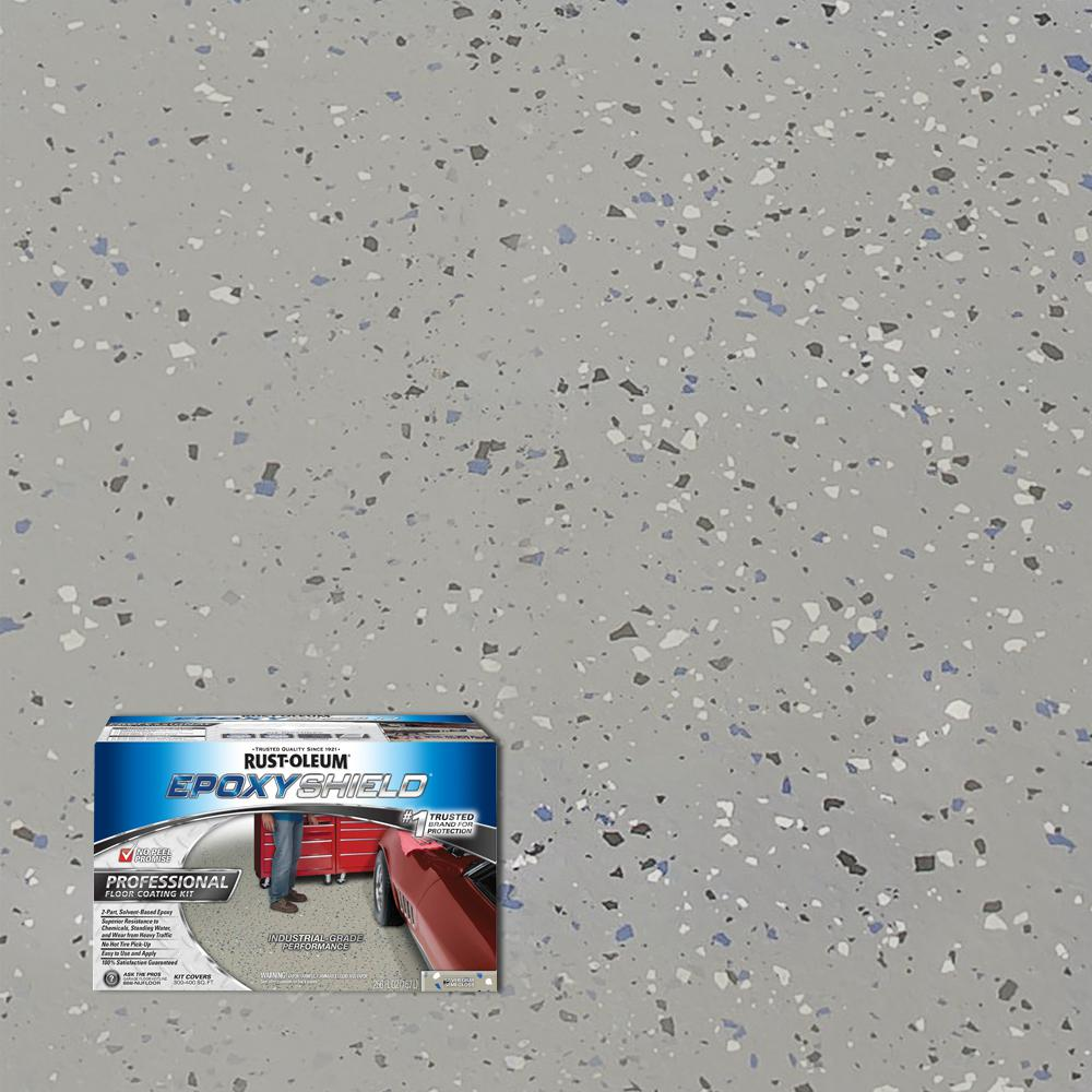 Garage Floor Coating Tucson Cost Rust Oleum Epoxyshield 2 Gal Silver Gray Semi Gloss Professional Floor Coating Kit 2 Pack