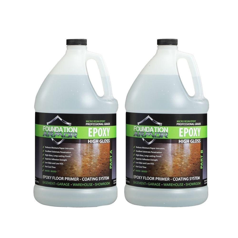 Garage Armour Epoxy Foundation Armor Epoxy 2 Gal Water Based Clear High Gloss 2 Part Epoxy Primer And Top Coat For Concrete Floors