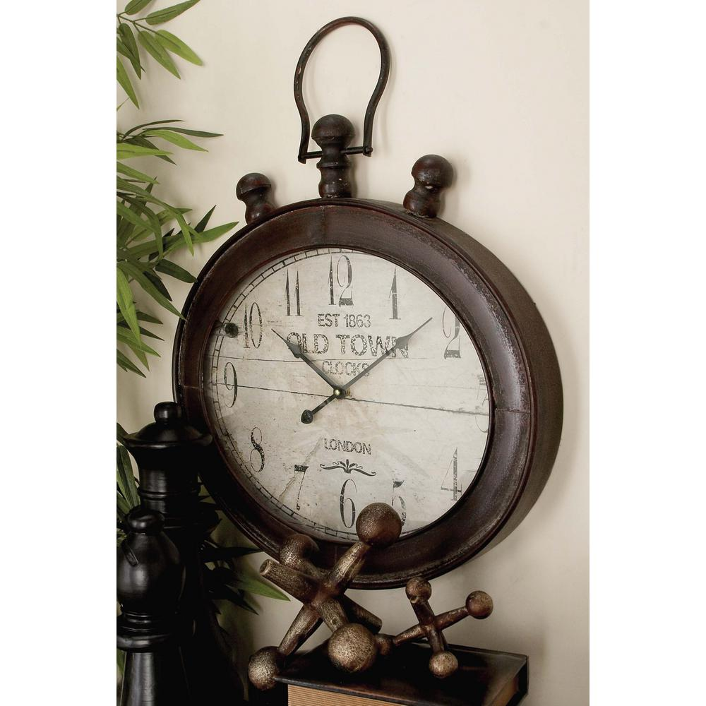 Oval Clock Face 21 In X 21 In Vintage Stopwatch Style Oval Wall Clock