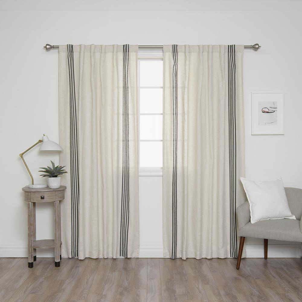 Black Stripe Curtains Best Home Fashion 84 In L Linen Blend Ivory Curtain Panels With