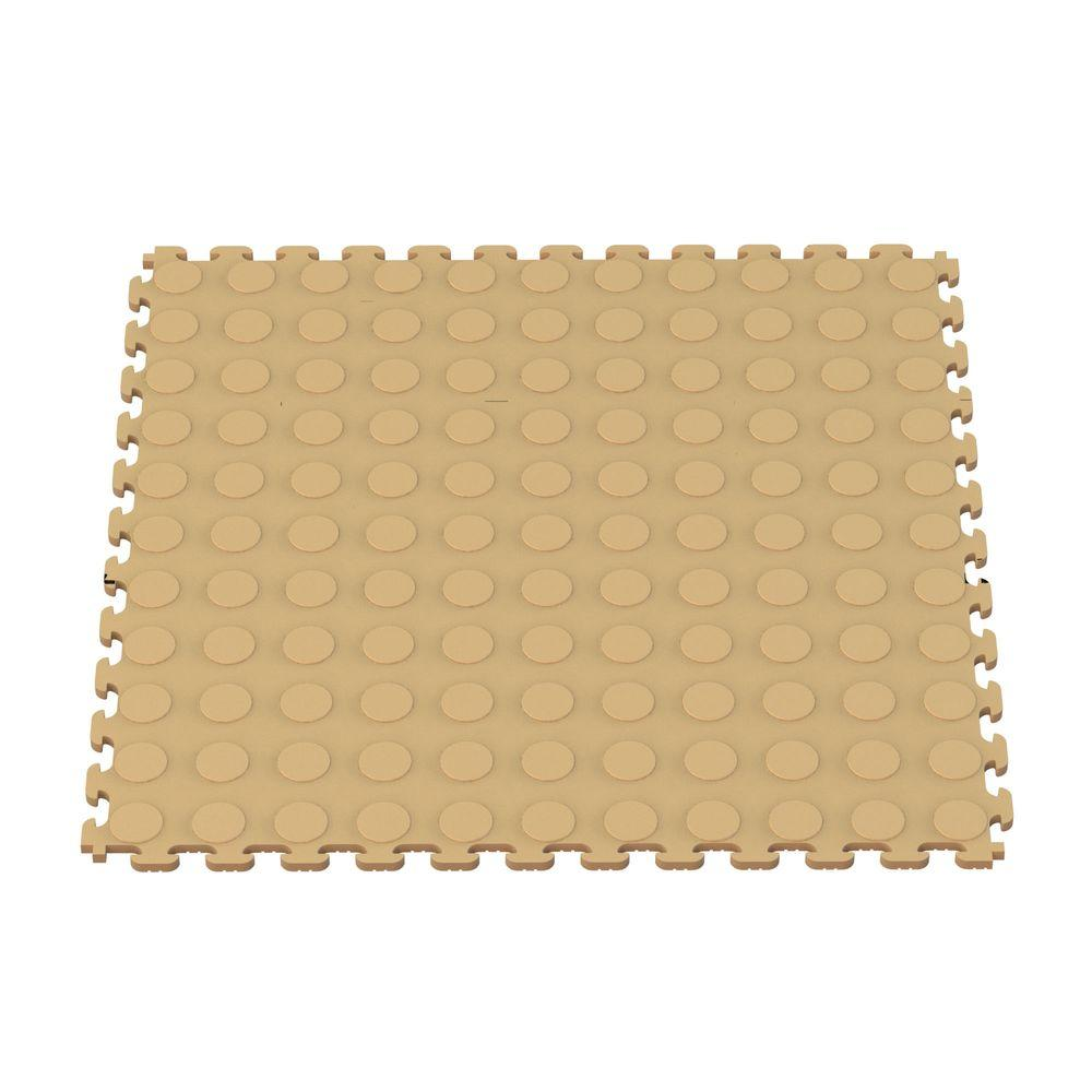 Garage Flooring Tiles Norsk Multi Purpose 18 3 In X 18 3 In Beige Pvc Garage Flooring Tile With Raised Coin Pattern 6 Pieces