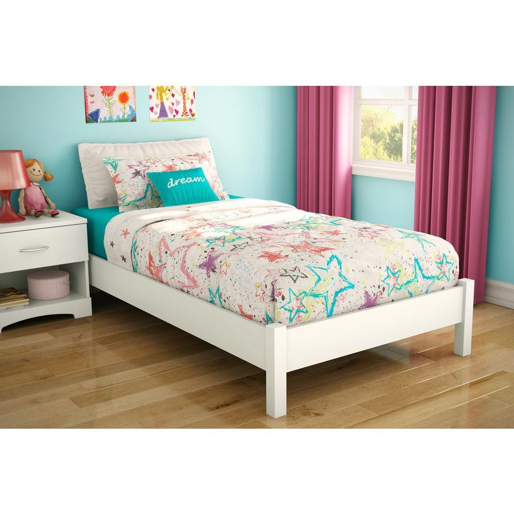 Kids Furniture South Shore Step One Twin Size Platform Bed In Pure White