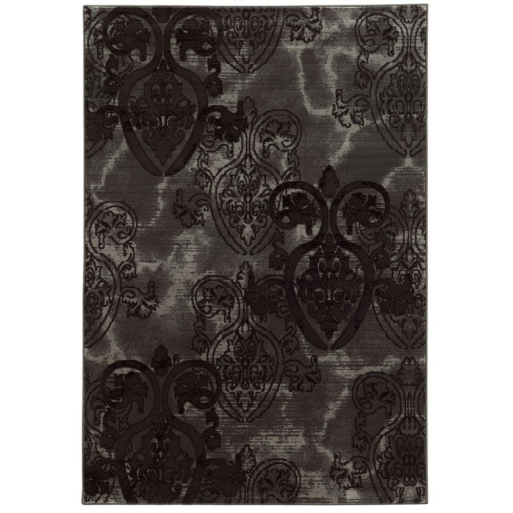 Linon Home Decor Jewel Collection Grey And Black 5 Ft X 7
