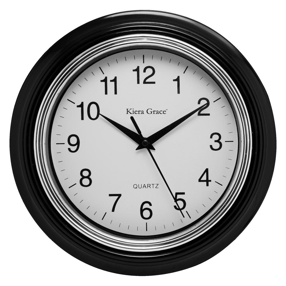 Black Wall Clock 6 Pack Aster Round Wall Clock 10 In 1 5 In D Black