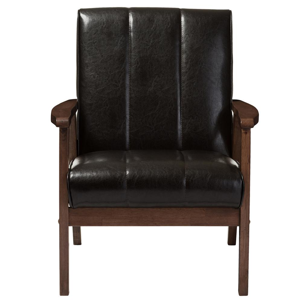 Accent Chairs To Go With Brown Leather Sofa Baxton Studio Nikko Scandinavian Dark Brown Faux Leather Upholstered Accent Chair