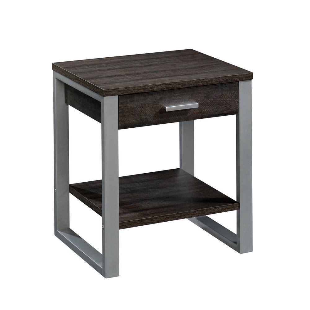 Sauder Rock Glen 24 In Blade Walnut With Silver Metal Frame End Side Table 425775 The Home Depot
