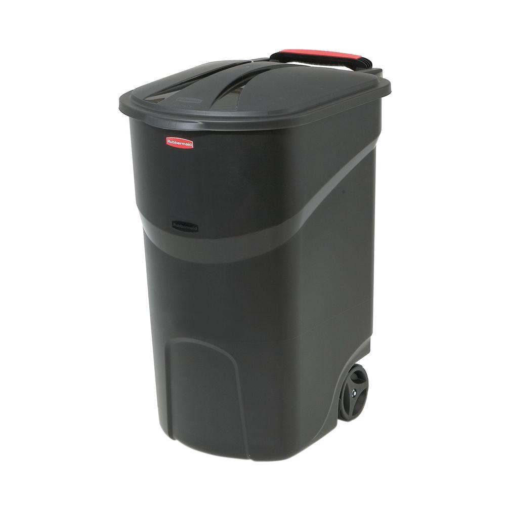 Cool Trash Bins Rubbermaid Roughneck 45 Gal Black Wheeled Trash Can With Lid